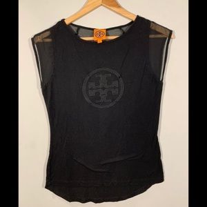 Tory Burch Top Logo Sheer Back Buttons Sz S Black